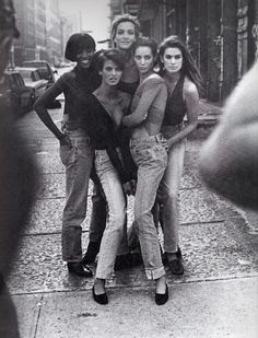 Naomi Campbell, Linda Evangelista, Tatjana Patitz, Christy Turlington and Cindy Crawford in Giorgio di Sant'Angelo Tops, photographed by Peter Lindbergh for Vogue, 1990