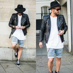 No Name Biker Jacket, H&M Basic Shirt, Hurley Fedora, H&M Custom Cut Off Jeans, Vans Sk8 Hi