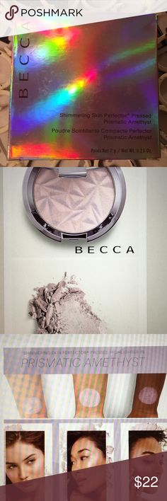 Becca Shimmering Skin Highlighter. Amethyst RePosh. It has been searched. Still have box as pictured. Can take more photos if asked. Just not my thing. I like more dramatic and this is a more subtle IN MY OPINION. that's my opinion. Definitely beautiful color I just prefer BAM 💥 highlighting. 😃 BECCA Makeup Luminizer
