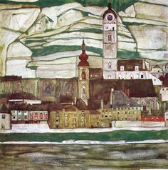 Stein on the Danube by Egon Schiele, 1913, oil on canvas.