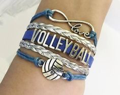 Volleyball bracelet, Volleyball gift, Volleyball jewelry, Volleyball Mom Gift , Sports Team jewelry, Infinity Volleyball, Royal/Silver