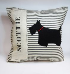 Handmade decorative black and white stylish Scottie dog applique throw pillow cushion cover