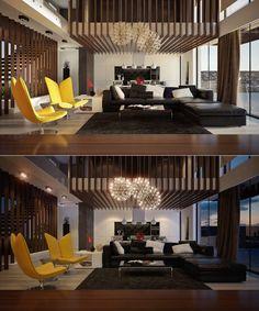 ultra modern double height living