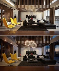 ultra modern double height living