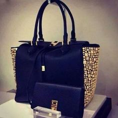black bag with gold studs