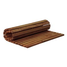 Features:  -Material: Solid teak wood.  -Sustainable in wet environment.  -Rolls up for storage.  -Resists mold.  -Hand-sanded for smooth feel.  -Oiled no-slip finish.  Product Type: -Shower/Tub Mats.