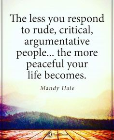 The less you respond to rude critical argumentative people..