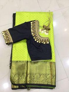 Kasu embellished blouse designs for silk saree Wedding Saree Blouse Designs, Silk Saree Blouse Designs, Blouse Neck Designs, Silk Sarees, Saree Wedding, Indian Sarees, Mirror Work Blouse Design, Mirror Work Saree Blouse, Simple Blouse Designs