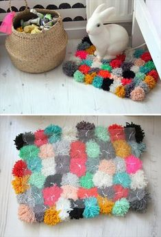 Pom Pom Rug | 25 DIY Creative Ideas for Home Decor | Home with Design ... Perhaps in the colors you're interested in.