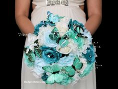 Teal Butterfly Wedding Flower Package with turquoise, mint green, spa and white roses with butterflies