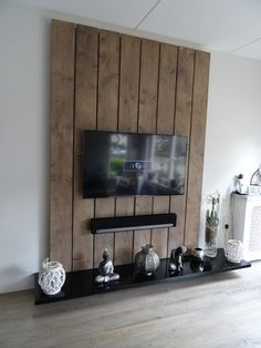 Photo: TV wall unit made of wooden scaffolding planks and MDF. The shelves are gl . - Photo: TV wall unit made of wooden scaffolding planks and MDF. The boards are sanded smooth and put - Living Room Tv, Home And Living, Tv Wall Decor, Wall Tv, Tv Wall Design, Living Room Designs, Interior Design, Home Decor, Scaffolding Wood
