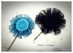 Horquillas de flores con cintas