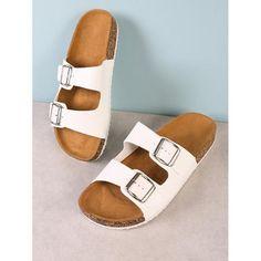 21618d0cc362 Double Buckle Cork Footbed Slide Sandal WHITE Cheap Womens Shoes