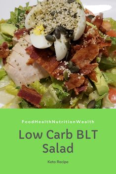 BLT Salad for the win! Perfect hearty lunch or weeknight dinner! 592 Cal | 5.1 g Net Carbs per serving  #BLT #BLTSalad #dinnersalad #saladforlunch #bacon #ketosalad #flavour #foodhealthnutritionwealth #healthiswealth #foodie #foodporn #delicious #nutritious #nutrition #keto #ketodiet #lowcarbfood #lowcarb #lchf #lchfdiet #ketorecipes #lowcarbrecipes #youtube #youtuber #newvideo Blt Salad, Low Carb Recipes, Healthy Recipes, Dinner Salads, Health And Nutrition, Food Porn, Dinner Recipes, Meals, Low Carb