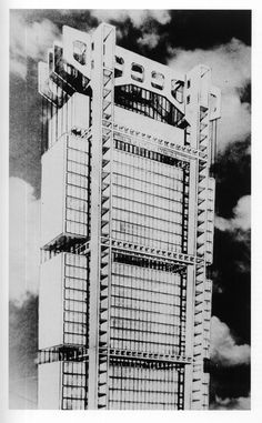 Suspended office building (Project for UIA (Union Industrial Argentina)), Argentina - 1946 Amancio Williams Concept Architecture, Contemporary Architecture, Amancio Williams, Modern Architects, Photoshop, Steel Buildings, City Lights, Engineering, Projects