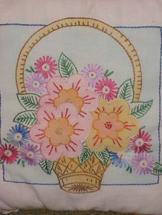 Pillow Made From Vintage Hand Painted and Embroidered Linens
