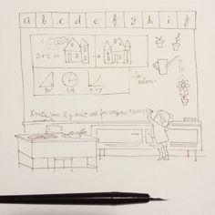 A little something. #wip #ink #illustration #kids #school #cute #girl #blackboard Ink Illustrations, Illustration Kids, Free Spanish Lessons, Spanish Words, Online Lessons, School, Kid Illustration