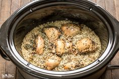 This Slow Cooker Basil Chicken and Rice is a complete meal in one pot!