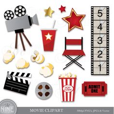 MOVIE Clip Art Digital Clipart, Instant Download, Movie Party Cinema Theater Hollywood Theme Clip Art Vector Art File Icons Graphics