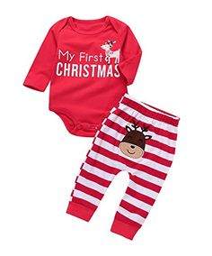 aef00220bc1 christmas outfits for boys - Xmas Newborn Baby Boy Girl Christmas Deer  Striped Jumpsuit Costume Outfits Red)    You can find out more details at  the link of ...