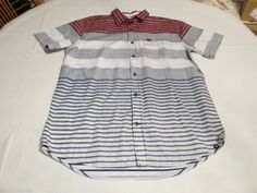 Men's Hurley shirt button up L surf skate NEW striped MVS0002000 Echo MIG greys #Hurley #ButtonFront