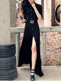 SHARE & Get it FREE | Join RoseGal: Get YOUR $50 NOW!http://www.rosegal.com/maxi-dresses/stylish-women-s-black-shirt-collar-high-split-buttoned-maxi-dress-561366.html?seid=6721510rg561366