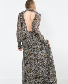 PRINTED LONG SLEEVE MAXI DRESS from Zara - back
