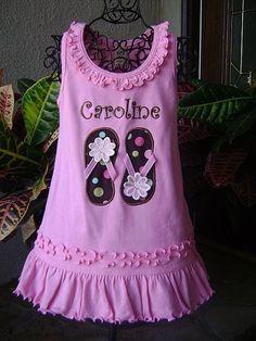Personalized Flip Flops Dress - Custom Made Sizes 6 mos-Girls 6X. $22.00, via Etsy.