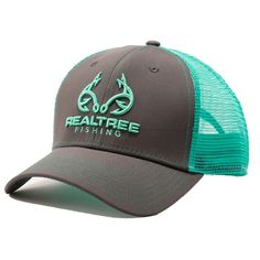 Custom Realtree Fishing Logo Cap in Bright Mint This Hat is a low Profile Fit with a snap back closure for comfort and adjustability. This hat is Charcoal gray with Mint Accents and perfect for fishin