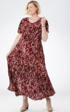 Comfy Dresses, Plus Size Maxi Dresses, Plus Size Outfits, Dresses With Sleeves, Short Sleeves, Full Figured Women, Woman Within, Beauty Full, Flare Skirt