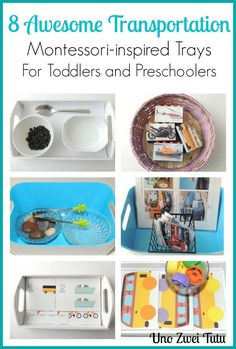 Do you have a vehicle lover at home? Here are 7 transportation-themed Montessori-inspired tot trays from matching activities to practical life skills. And free printables in Spanish, English and bilingual.