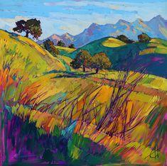 San Luis Obispo Oak Trees Landscape California Impressionism Original Oil Painting. Artist Erin Hanson. Love the bold and vivid colors used to capture a beautiful scene.