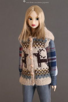 jiajiadoll-hand knitting-deer vest fits Momoko Or Blythe Or Misaki