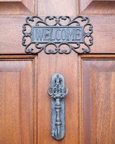 Welcome! Sign and door knocker. Black Iris Estate, Carmel Indiana