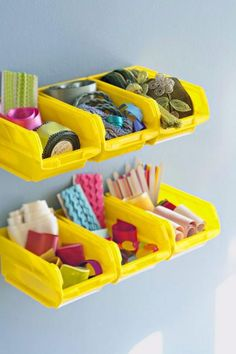 Organize rickrack, thread, and other small quilting supplies in small plastic bins from a hardware or craft store. Many organizers that are for tools or other hardware items can easily accommodate sewing supplies.