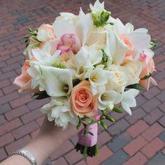 Vivian's Bouquet: <span>Roses, freesias, calla lilies, cymbidium orchids</span> Diy Wedding Bouquet, Bride Bouquets, Wedding Flowers, Peach Wedding Colors, Wedding Color Schemes, Orchid Bouquet, Cymbidium Orchids, Calla Lily, Flower Arrangements