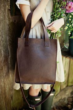 Brown leather cross body tote bag/ spring bag/ handmade leather tote bag/ crossbody tote/ genuine leather tote / full grain leather tote - This medium size brown leather tote bag is very comfortable as it can be used as a handbag due to s - Crossbody Tote, Leather Crossbody, Leather Purses, Leather Handbags, Spring Bags, Brown Leather Totes, Soft Leather, Pink Leather, Designer Shoulder Bags