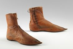 Women's boots, British, 1790-1820, leather.