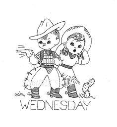 Vintage Embroidery Pattern 7216 Cowboy Children Tumbleweeds