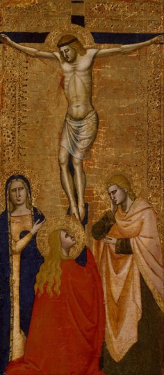 """Unknown Italian """"Christ on the Cross with the Virgin, Saint John, and Saint Mary Magdalene"""" Date: 1360/1380 Medium: Tempera and gold leaf on wood Dimensions: w12.9 x h30.1 cm (without frame) Museum of Fine Arts, Houston"""