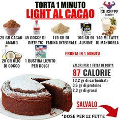 Torta light al cacao Bakery Recipes, Snack Recipes, Snacks, Tortilla Sana, Tortas Light, Light Cakes, Light Desserts, Low Calorie Recipes, Light Recipes