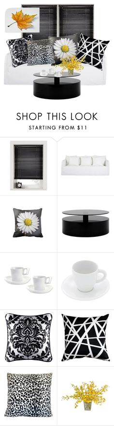 """""""Black and white throw pillows"""" by julemstudio ❤ liked on Polyvore featuring interior, interiors, interior design, home, home decor, interior decorating, BergHOFF, Pordamsa, J. Queen New York and Pillow Decor"""
