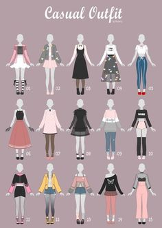 17 Anime Poses Reference Casual Art Clothes Fashion Drawing Pin By Milk On Digital Cloz Draw. Anime Outfits, Mode Outfits, Sport Outfits, Casual Outfits, Fashion Outfits, Fashion Ideas, Diy Outfits, Fashion Fashion, Trendy Fashion