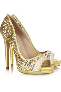 Oscar de la Renta Valerie Sequined Satin Peep-Toe Pumps Gold Spring Summer 2014 #Shoes #Heels