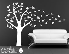 "Tree Wall Decal Wall Sticker - Tree Blowing in the Wind Wall Decal - Tree Decals - Large: approx 75"" x 95"" (whole composition)."