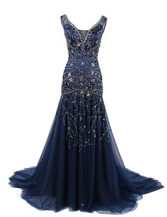 Dressystar Mermaid Beaded Straps Wedding Prom Evening Dresses with Train Lace up Back Size 2 Navy