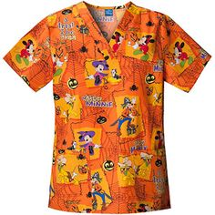 disney mickey halloween v neck scrub top
