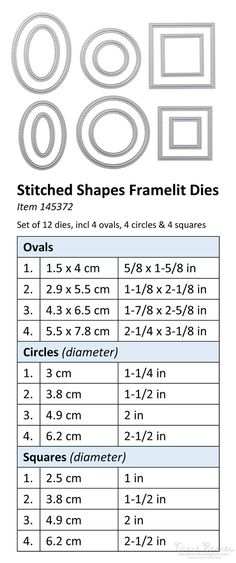 Stitched Shapes framelit dies sizes. Dies available from 1 November 2016. Get 25% off selected coordinating dies from 1-30 November. #colourmehappy Di Barnes SU Demonstrator in Australia
