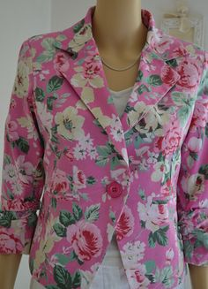 Veste rose fleurie Made in italy coton manches 3/4