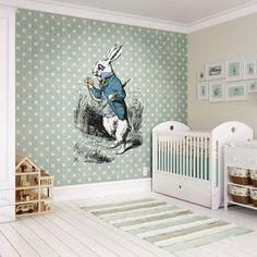White Rabbit Wall Mural, , large